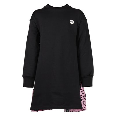 Black & pink cotton sweatshirt with viscose crepe insert