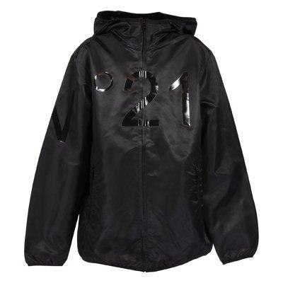 Giacca nera in nylon con logo e cappuccio