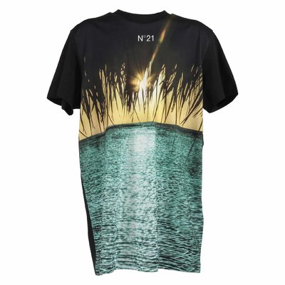Picture print cotton jersey t-shirt