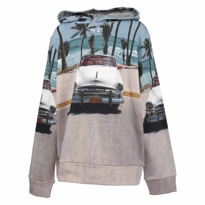 Picture print cotton sweatshirt hoodie