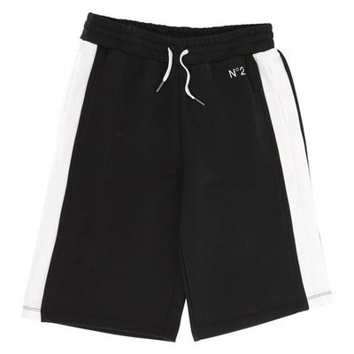 Black logo detail cotton sweat shorts