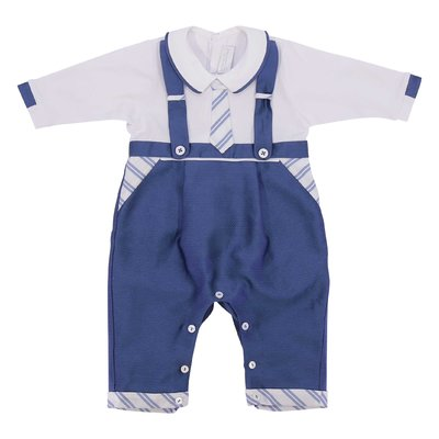Modì white & blue layered effect cotton romper