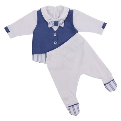 White & blue layered effect cotton romper