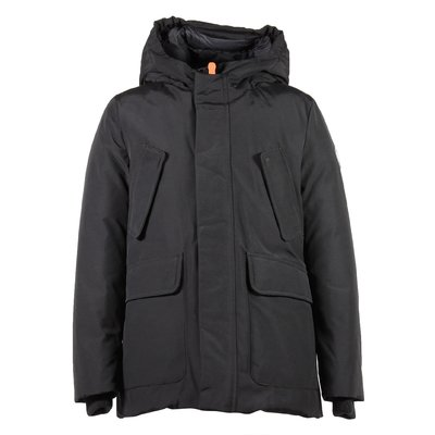 Black nylon & cotton padded jacket with hood
