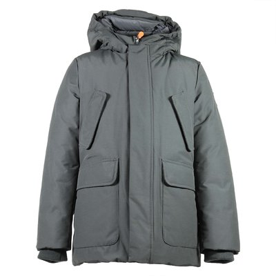 Military green nylon & cotton padded jacket with hood