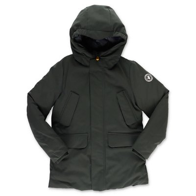 Save the Duck green nylon down jacket with hood