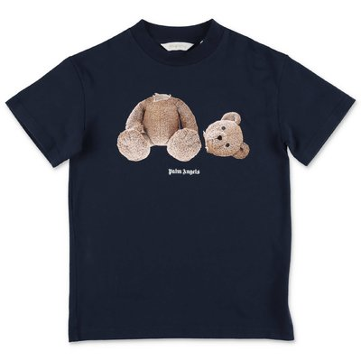 PALM ANGELS t-shirt blu navy Teddy Bear in jersey di cotone