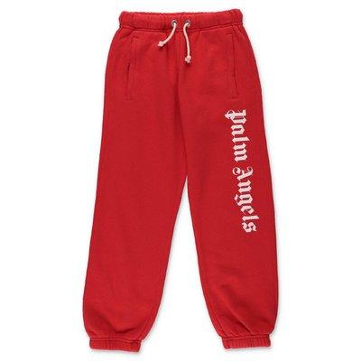 PALM ANGELS pantaloni rossi in felpa di cotone