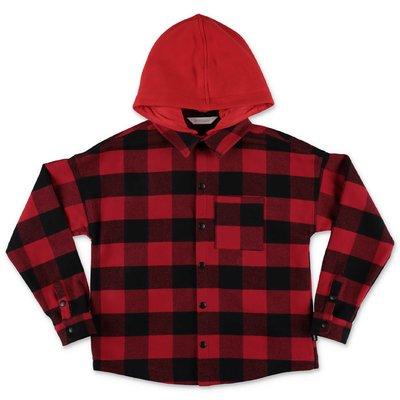 PALM ANGELS giacca rossa check in cotone con cappuccio