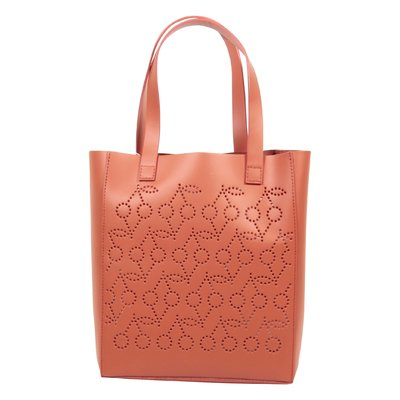 Coral red calf leather bag