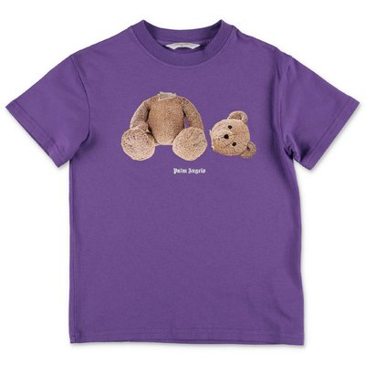 PALM ANGELS t-shirt viola Teddy Bear in jersey di cotone
