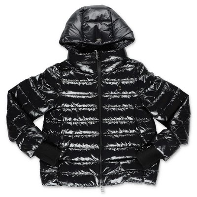 Herno black nylon hooded down feather jacket