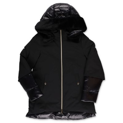 HERNO black nylon down jacket with hood