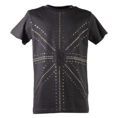 T-shirt nera in jersey di cotone con decorazioni applicate
