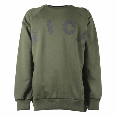 Military green logo cotton sweatshirt