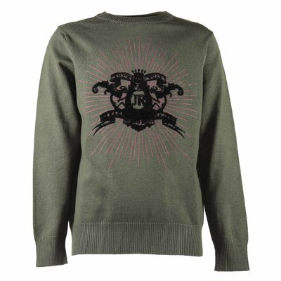 Green viscose blend knit jumper