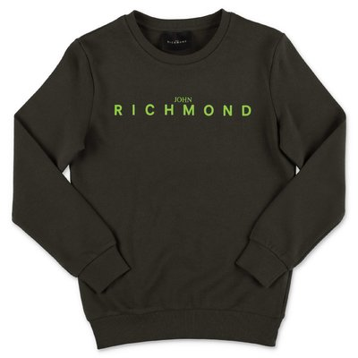 John Richmond felpa verde militare in cotone