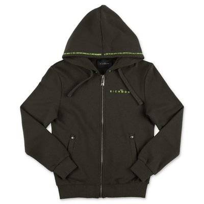 John Richmond military green cotton hoodie