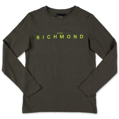 John Richmond t-shirt verde militare in jersey di cotone