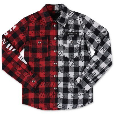 John Richmond checked patchwork cotton flannel shirt