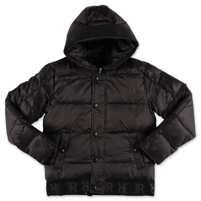 John Richmond black nylon down jacket with hood