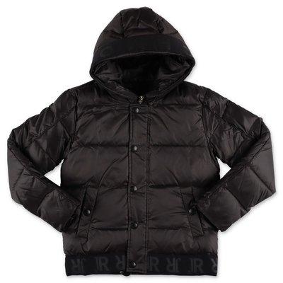 John Richmond black nylon down jacket with hood