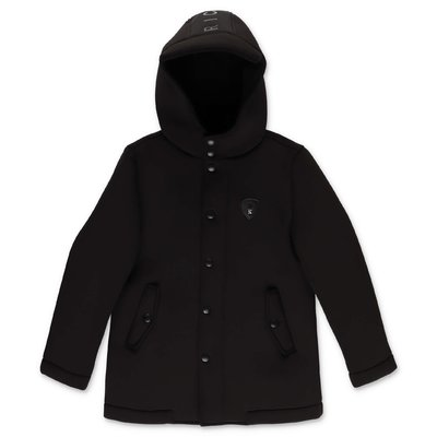 John Richmond parka nero in neoprene con cappuccio