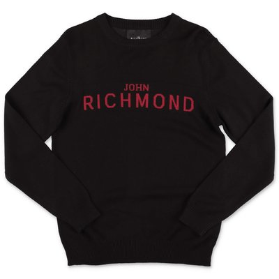John Richmond black viscose blend knit jumper