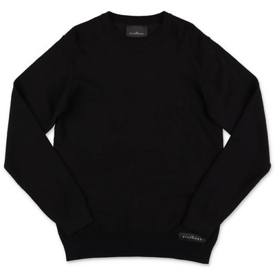 John Richmond black merino wool blend knit jumper