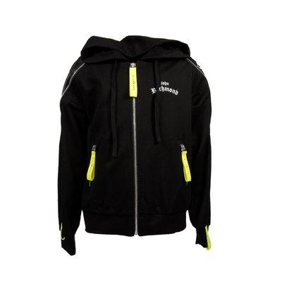 Black logo detail viscose blend hoodie