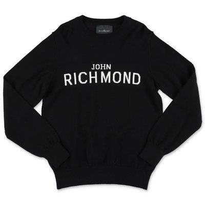 John Richmond pullover nero in maglia di cotone