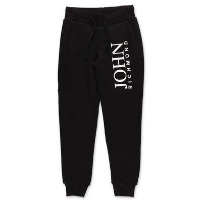 John Richmond pantaloni neri in felpa di cotone