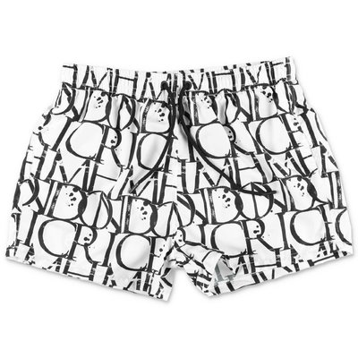 John Richmond white nylon swim shorts