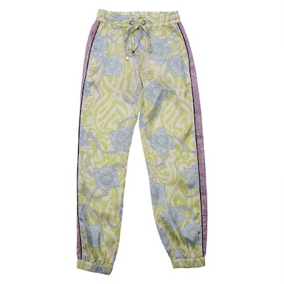 Floral print yellow acetate pants