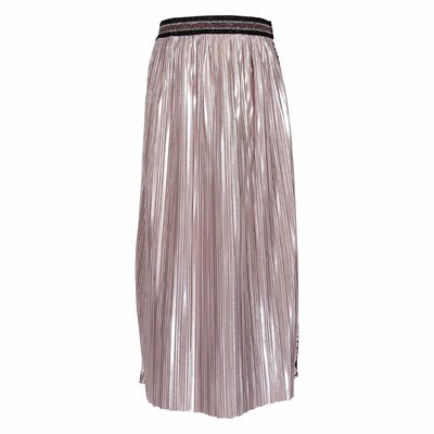 Metallic pink techno fabric skirt