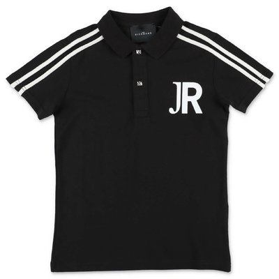 John Richmond polo nera in piquet di cotone