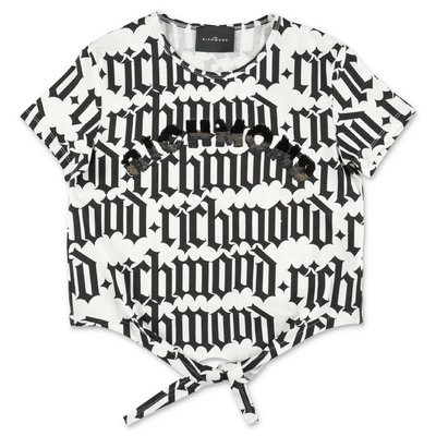 John Richmond t-shirt bianca e nera in jersey di cotone