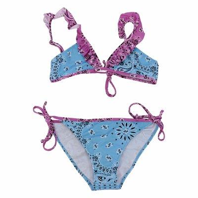 Costume bikini azzurro stampa paisley