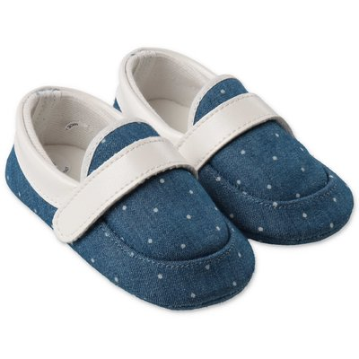 MODI' blue cotton denim prewalker shoes