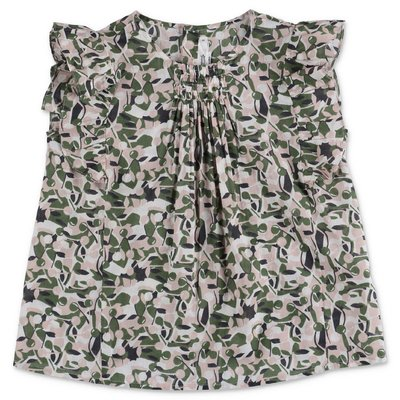 Bonpoint camouflage print cotton muslin blouse