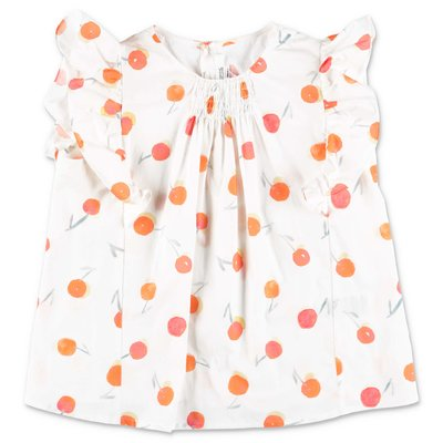 Bonpoint white printed cotton muslin blouse