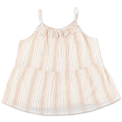 Bonpoint beige striped cotton muslin top