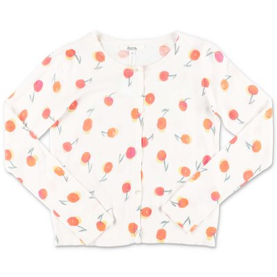 Bonpoint white cottonca rdigan with Iconic cherry prints