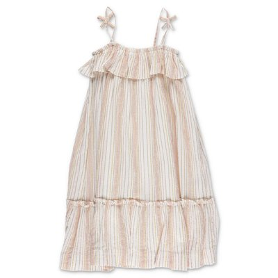 Bonpoint beige striped metal effect cotton dress