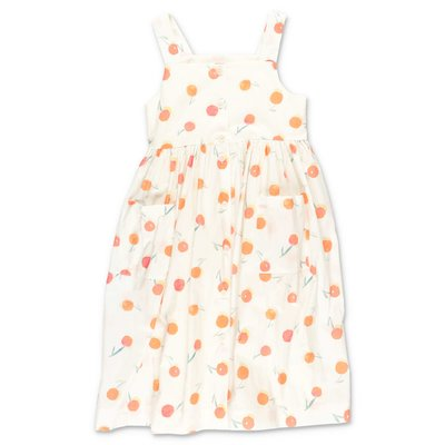 Bonpoint white cotton poplin dress with Iconic cherries