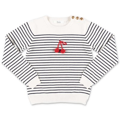 Bonpoint white striped cotton blend jumper