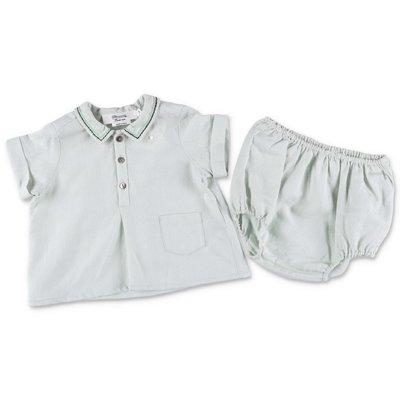 Bonpoint completo verde chiaro in cotone e lino con camicia e coulotte