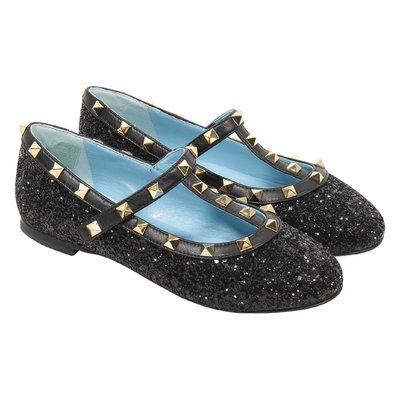Black glitter leather ballerinas