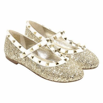 Gold glitter leather ballerinas