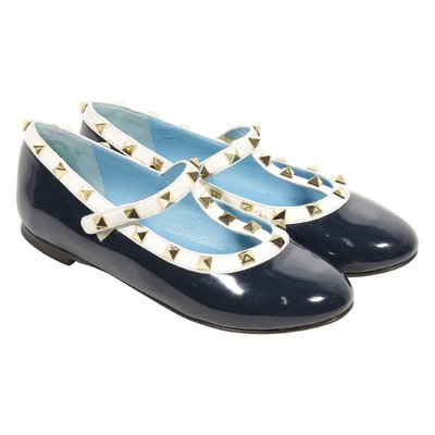 Dark blue patent leather ballerinas with studs